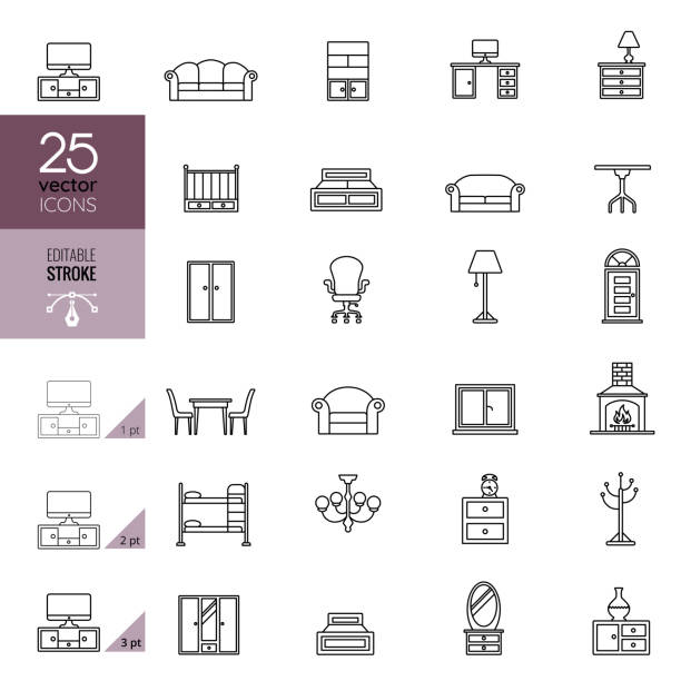 ilustrações de stock, clip art, desenhos animados e ícones de furniture line icon set. editable stroke. - sideboard