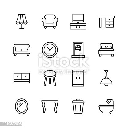16 Furniture Outline Icons.