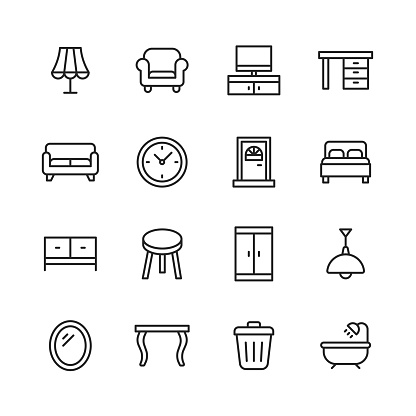 Furniture Line Icons. Editable Stroke. Pixel Perfect. For Mobile and Web. Contains such icons as Lamp, Armchair, Tv Bench, Desk, Sofa, Couch, Door, Bed, Wardrobe, Bath, Dining Table, Mirror.