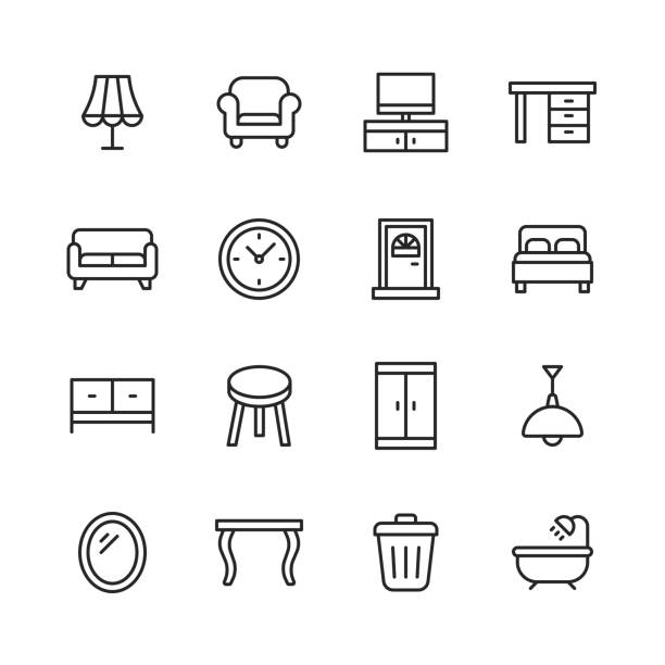 ilustrações de stock, clip art, desenhos animados e ícones de furniture line icons. editable stroke. pixel perfect. for mobile and web. contains such icons as lamp, armchair, tv bench, desk, sofa, couch, door, bed, wardrobe, bath, dining table, mirror. - sideboard