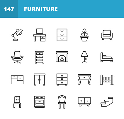 Furniture Line Icons. Editable Stroke. Pixel Perfect. For Mobile and Web. Contains such icons as Furniture, Architecture, Lamp, Desk, Plant, Mirror, Armchair, Fireplace, Oven, Chair, Dressing Table, Wardrobe, Office Chair.