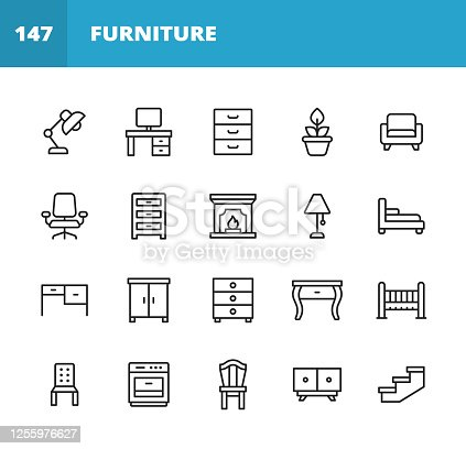 20 Furniture Outline Icons. Furniture, Architecture, Lamp, Desk, Plant, Mirror, Armchair, Fireplace, Oven, Chair, Dressing Table, Wardrobe, Office Chair, TV Bench, Sofa, Couch, Door, Bed, Wardrobe, Bath, Dining Table, Mirror.