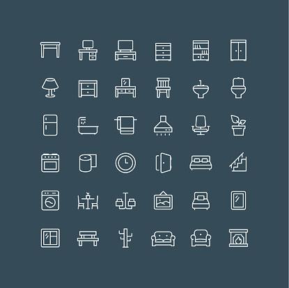 Furniture Line Icons Editable Stroke