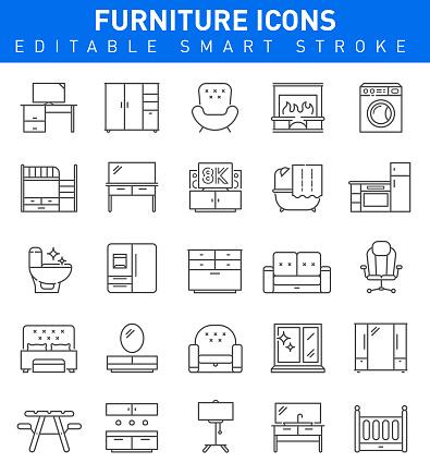 Furniture Line Icons. Editable stroke Vector Illustration