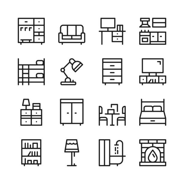 Furniture line icons set. Modern graphic design concepts, simple outline elements collection. Vector line icons Furniture line icons set. Modern graphic design concepts, simple outline elements collection. Vector line icons interior designer stock illustrations