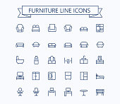 Furniture line mini icons.Editable stroke. 24x24 grid. Pixel Perfect.