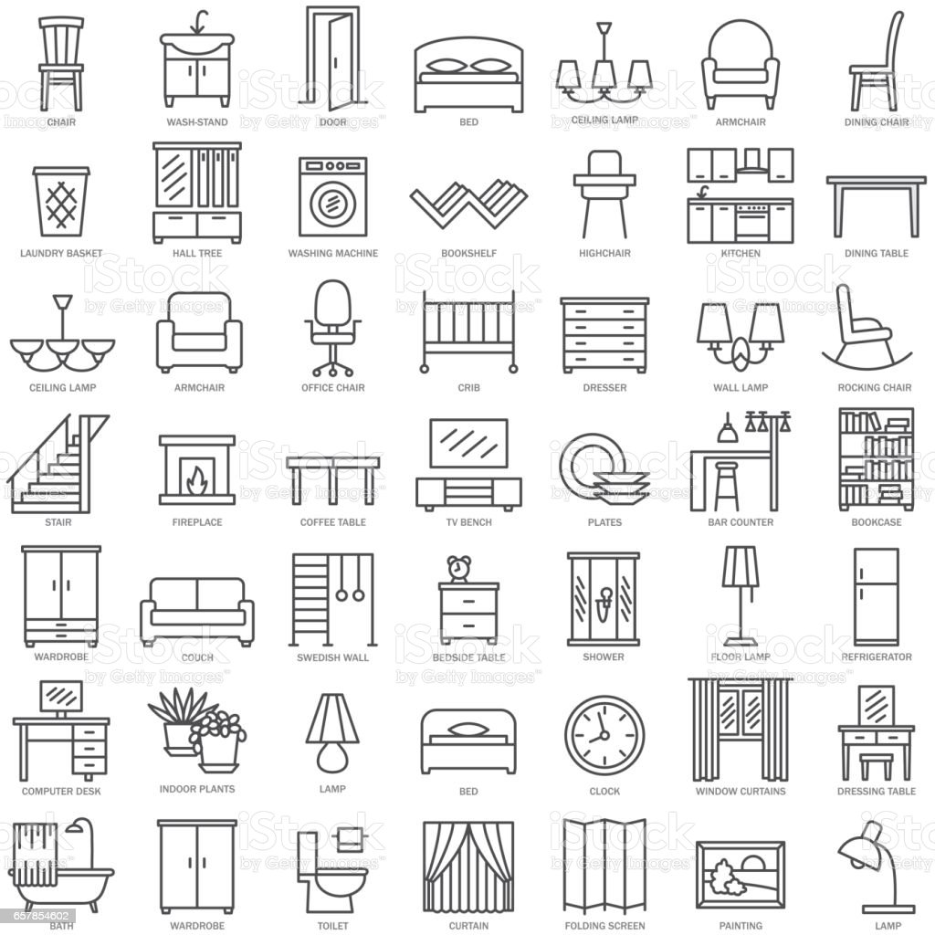 Furniture linear icons vector art illustration