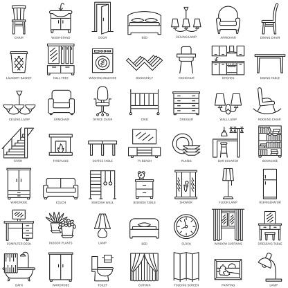 Möbler Linjär Ikoner-vektorgrafik och fler bilder på Bekväm