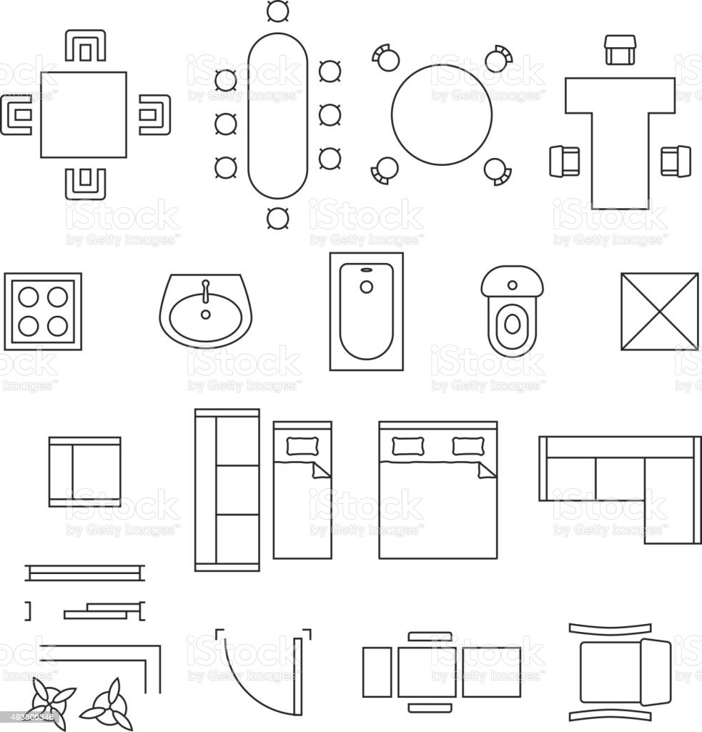 Furniture linear vector symbols. Floor plan icons set vector art illustration