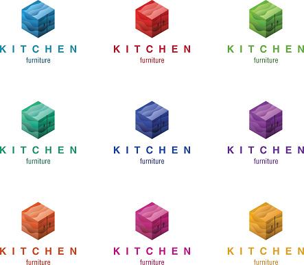 Furniture logo design concept. Different colors variant.