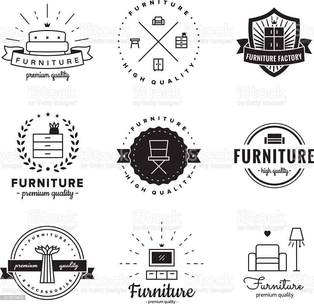Furniture logo vintage vector set. Hipster and retro style. vector art illustration