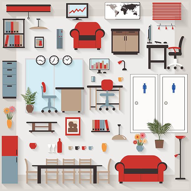 möbel langen schatten-icons für büro und sitzungssaal - halbwände stock-grafiken, -clipart, -cartoons und -symbole