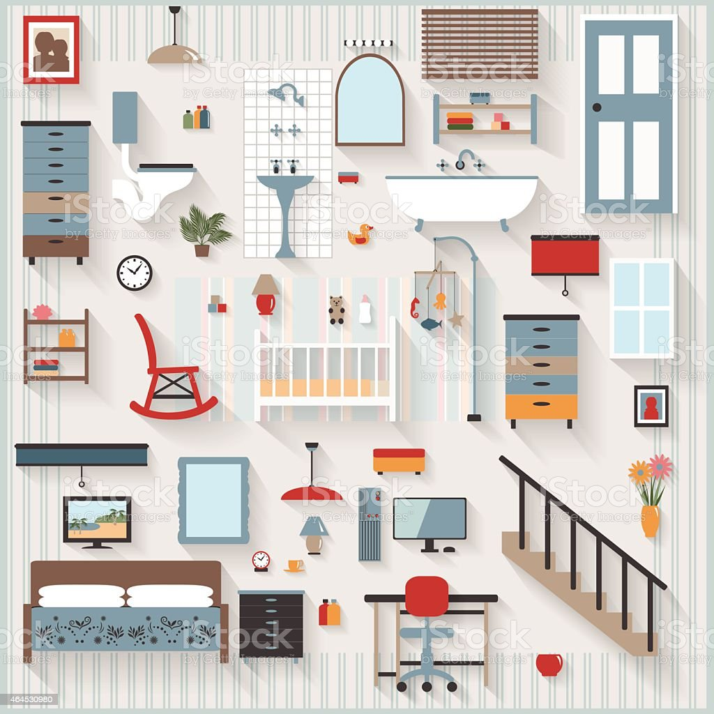 Furniture Long Shadows icons, Nursery, Cot, bedroom, bathroom, stairs vector art illustration