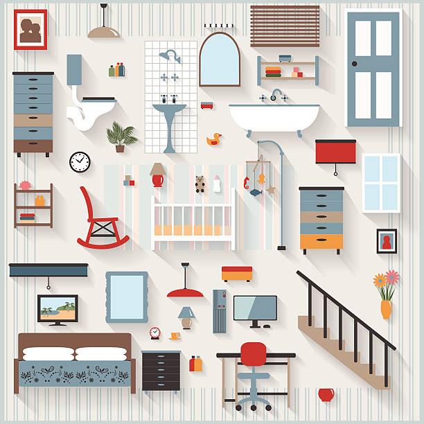 möbel langen schatten-ikonen, baby, kinderbett, schlafzimmer, bad, treppe - spiegelfliesen stock-grafiken, -clipart, -cartoons und -symbole