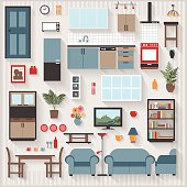 Furniture Long Shadows icons with Lounge Dining also Kitchen Appliances