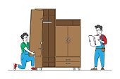 istock Furniture Maker Profession and Service, Handymen Read Instruction for Assembly Furniture, Worker Characters with Tools Assembling Cabinet, Construction Works Concept. Linear People Vector Illustration 1254456207