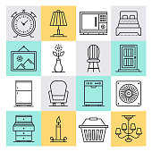 Furniture manufacturer and retailer outline style concept with symbols. Line vector icon sets for infographics and web designs.