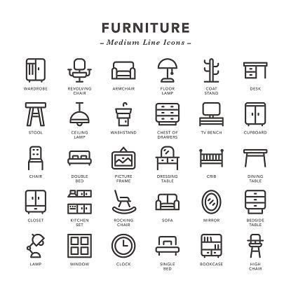 Furniture - Medium Line Icons