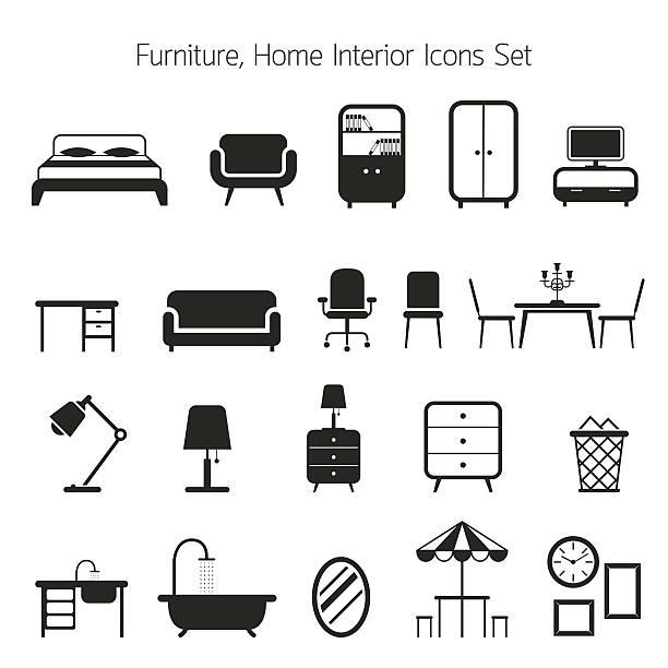 ikony zestaw mebli mono - krzesło stock illustrations