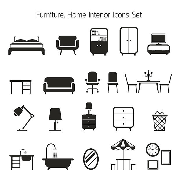 Furniture Mono Icons Set Household, Home Interior Objects armchair stock illustrations