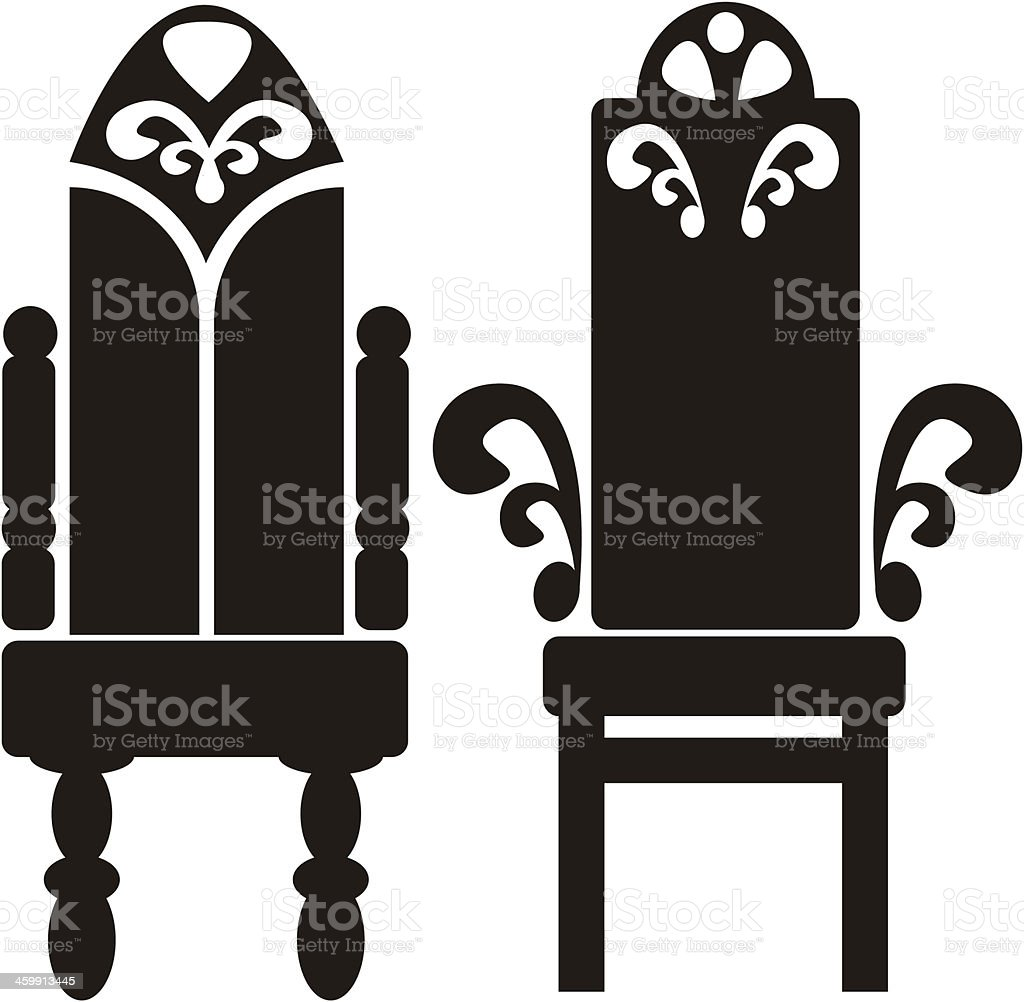 furniture of throne icons isolated on white background vector art illustration