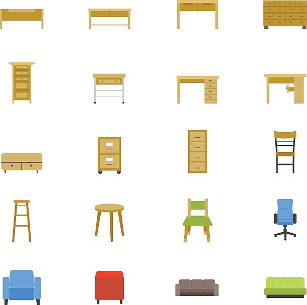 ilustrações de stock, clip art, desenhos animados e ícones de mobiliário e de acessórios de casa ícones de cores plana - sideboard