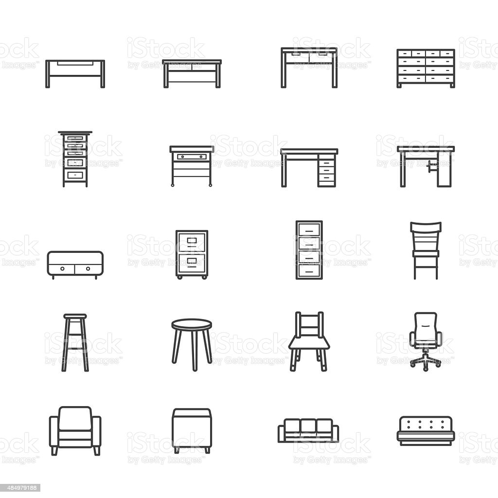 Furniture Office and Home Accessories Icons Line vector art illustration