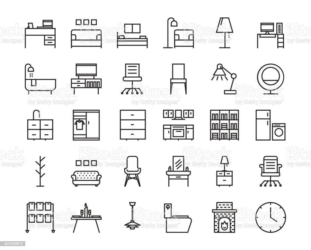 30 jeu d'icônes de contour furniture. Icône pour le web et la conception d'interface utilisateur. - Illustration vectorielle