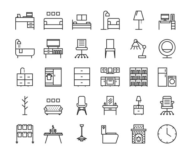bildbanksillustrationer, clip art samt tecknat material och ikoner med 30 möbler disposition ikonuppsättning. ikon för webb och ui design. - möbel