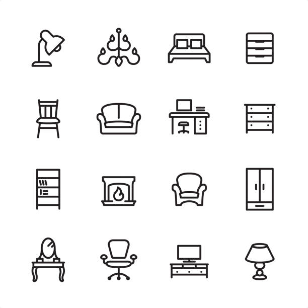 Furniture - outline icon set Furniture / 16 line black on white icons / Set #66 Pixel Perfect Principle - all the icons are designed in 48x48pх square, outline stroke 2px.  First row of outline icons contains:  Desk Lamp, Chandelier, Double Bed, Filing Cabinet;  Second row contains:  Chair, Sofa, Workplace, Drawer;  Third row contains:  Bookcase, Fireplace, Armchair, Highboy;   Fourth row contains:  Dressing Table, Office Chair, TV Sideboard, Electric Lamp.  Complete Inlinico collection - https://www.istockphoto.com/collaboration/boards/2MS6Qck-_UuiVTh288h3fQ interior designer stock illustrations