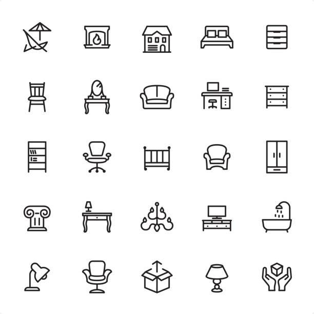 ilustrações de stock, clip art, desenhos animados e ícones de furniture - outline icon set - sideboard