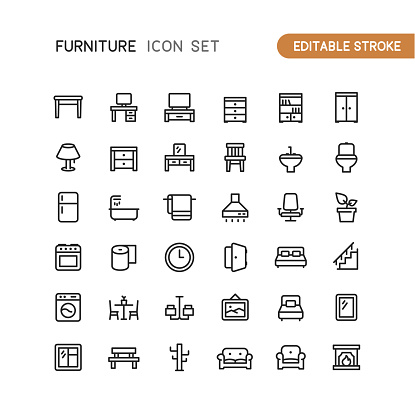 Furniture Outline Icons Editable Stroke