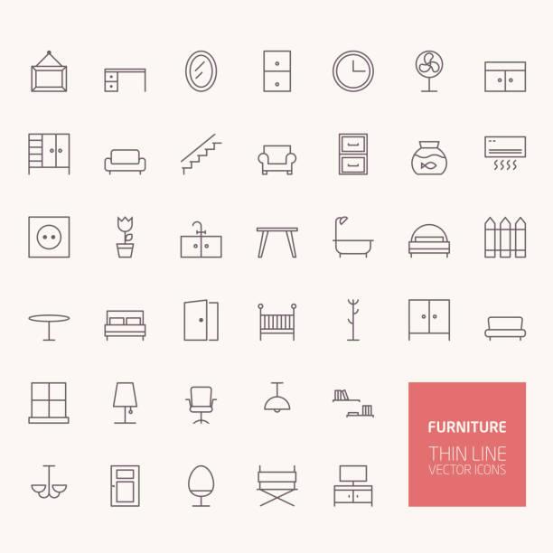 Meubles de silhouette d'icônes pour le web et applications mobiles - Illustration vectorielle