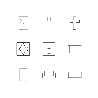 Furniture outline vector icons set