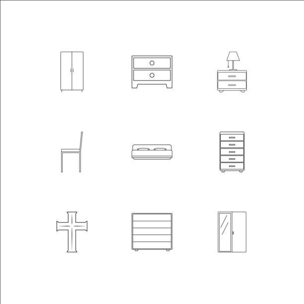 möbel umriss vektor-icons set - stapelbett stock-grafiken, -clipart, -cartoons und -symbole