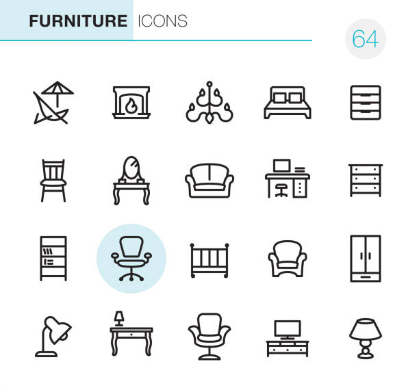 Furniture - Pixel Perfect icons 20 Outline Style - Black line - Pixel Perfect icons / Set #64 / Furniture / Icons are designed in 48x48pх square, outline stroke 2px.  First row of outline icons contains:  Deck Chair, Fireplace, Chandelier, Double Bed, Filing Cabinet;  Second row contains:  Chair, Dressing Table, Sofa, Workplace, Drower;  Third row contains:  Bookcase, Office Chair, Crib, Armchair, Highboy;   Fourth row contains:  Desk Lamp, Table, Boss Armchair, TV Sideboard, Electric Lamp.  Complete Primico collection - https://www.istockphoto.com/collaboration/boards/NQPVdXl6m0W6Zy5mWYkSyw interior designer stock illustrations