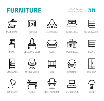 Furniture - Pixel Perfect line icons with captions