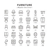 Furniture - Regular Line Icons - Vector EPS 10 File, Pixel Perfect 30 Icons.