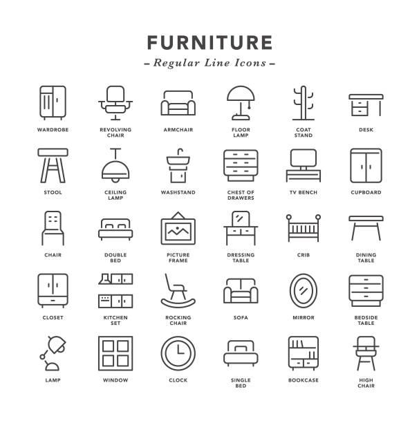 ilustraciones, imágenes clip art, dibujos animados e iconos de stock de muebles - línea regular los iconos - comfortable