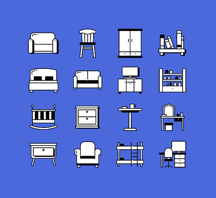 Furniture Related Icons Vector Collection. Modern Style Symbol Vector Illustration
