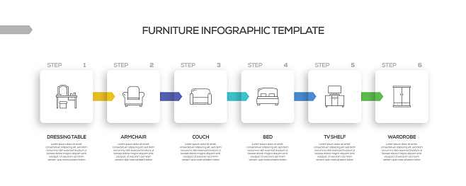 Furniture Related Process Infographic Template. Process Timeline Chart. Workflow Layout with Linear Icons