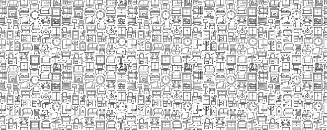 Furniture Related Seamless Pattern and Background with Line Icons