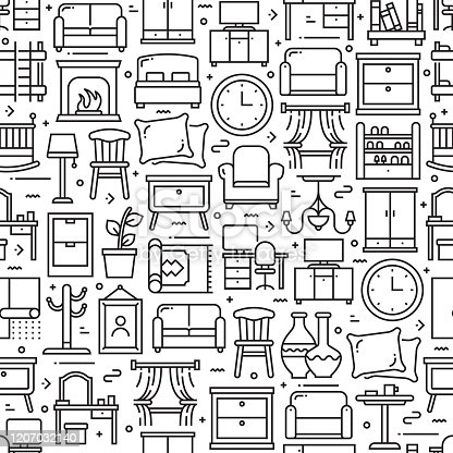 Furniture Related Seamless Pattern and Background with Line Icons. Editable Stroke
