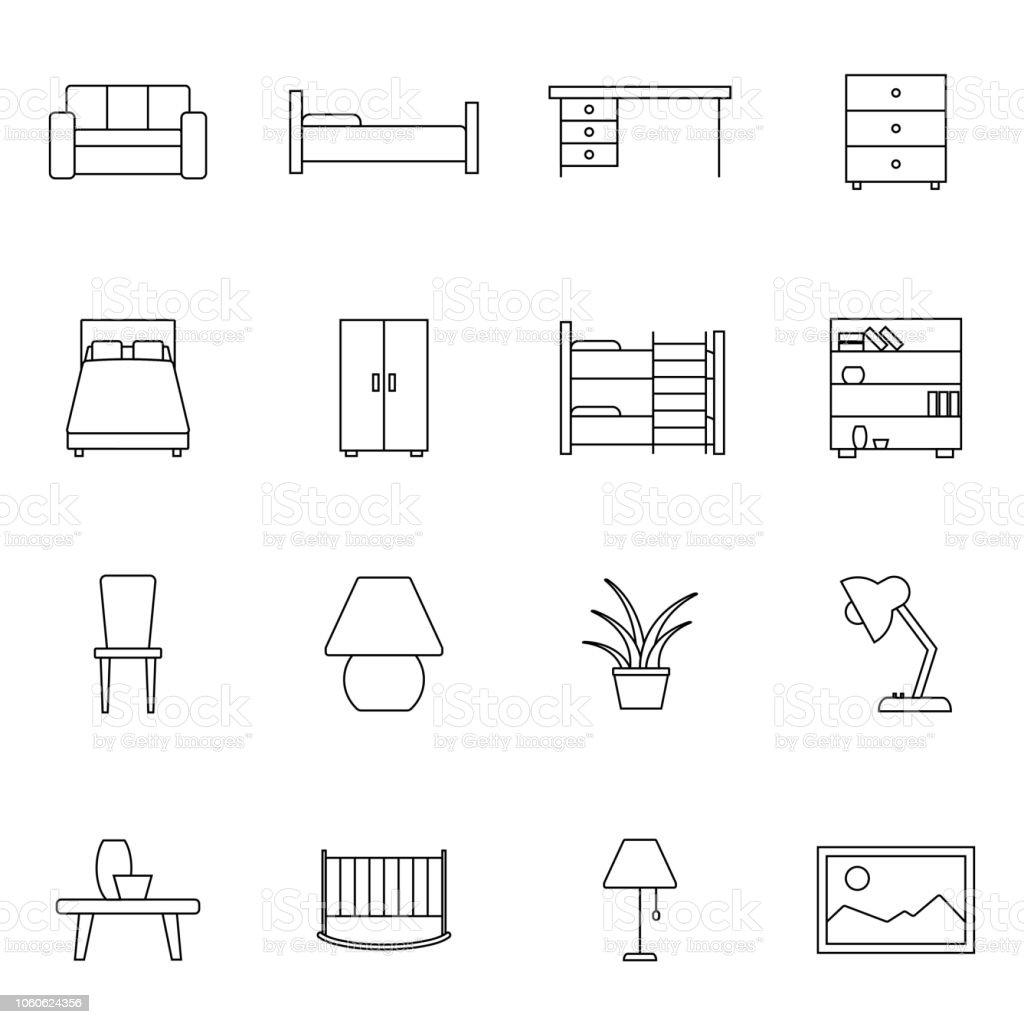 Möbler med vector Ikonuppsättning. Välskrivna tecken i tunn linjestil med redigerbara stroke. Vector symboler isolerad på en vit bakgrund. Enkla symboler. - Royaltyfri Bokhylla vektorgrafik