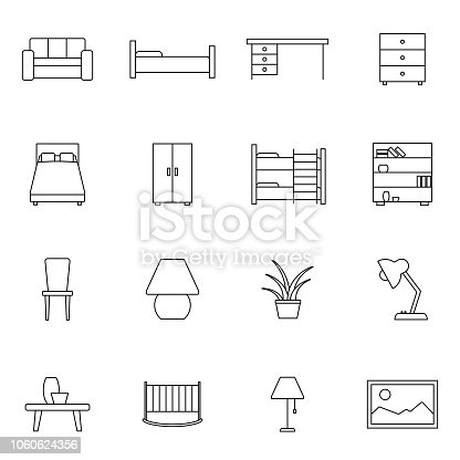 Furniture related vector icon set. Well-crafted sign in thin line style with editable stroke. Vector symbols isolated on a white background. Simple pictograms.