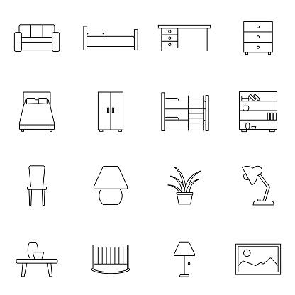 Möbler Med Vector Ikonuppsättning Välskrivna Tecken I Tunn Linjestil Med Redigerbara Stroke Vector Symboler Isolerad På En Vit Bakgrund Enkla Symboler-vektorgrafik och fler bilder på Bokhylla