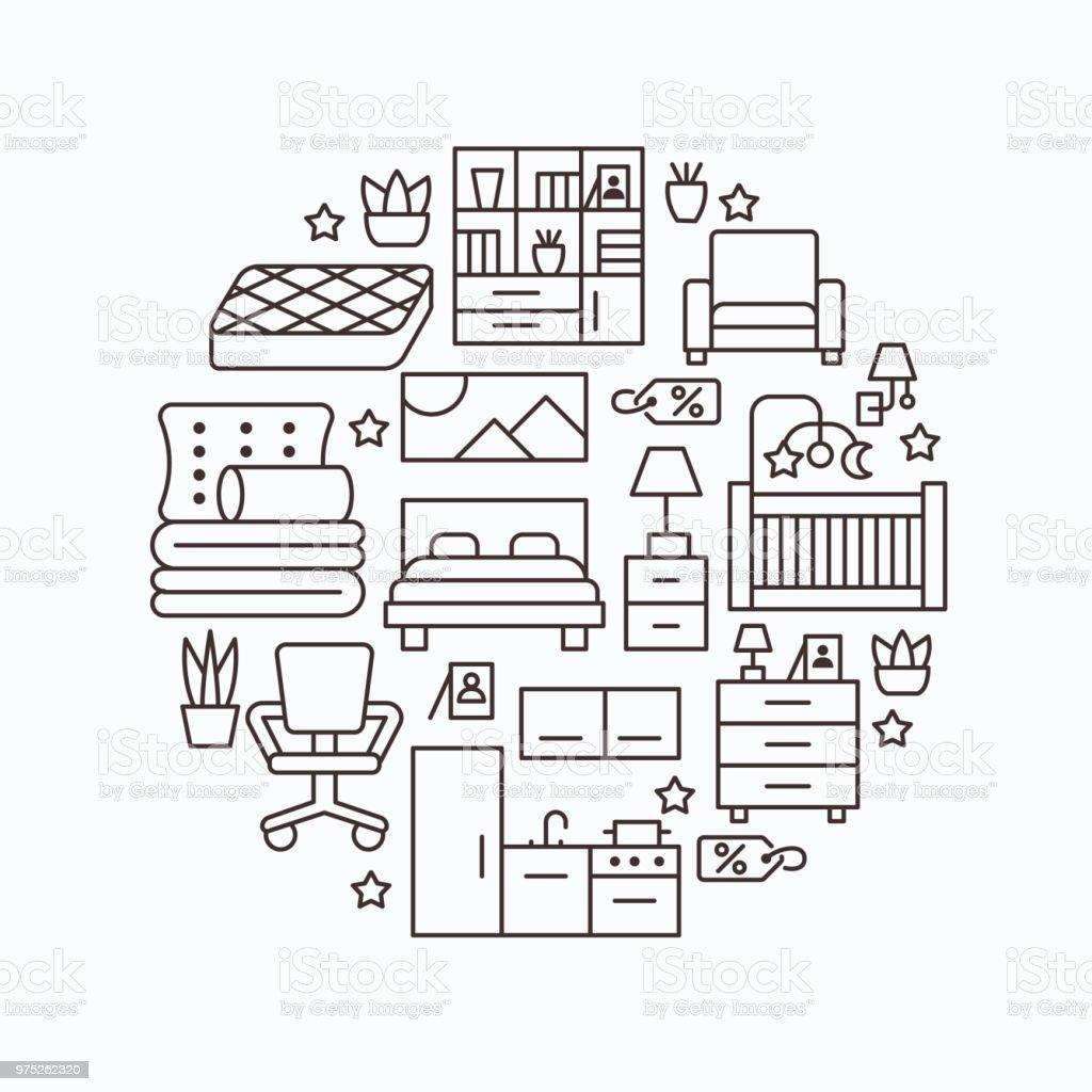 Ilustración de Ilustración Del Banner Sale De Muebles Con Los Iconos ...