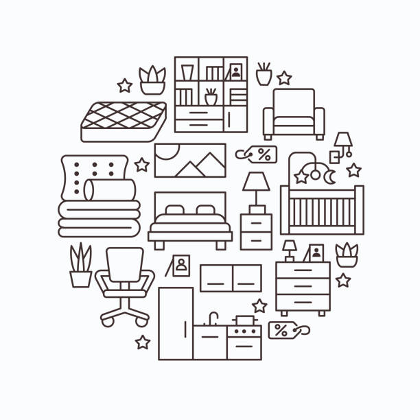 ilustrações de stock, clip art, desenhos animados e ícones de furniture sale banner illustration with flat line icons. interior store poster with living room, bedroom, home office chair, kitchen, sofa, nursery, lamp, sideboard thin linear signs. circle template - sideboard