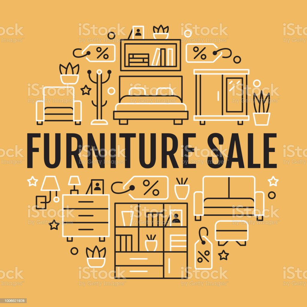 furniture sale banner. Furniture Sale Banner Illustration With Flat Line Icons. Living Room,  Bedroom, Home Office Furniture