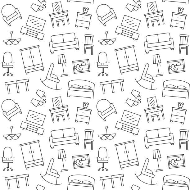 Modèle sans couture de meubles. Fond, illustration, vector, texture sans fin. - Illustration vectorielle